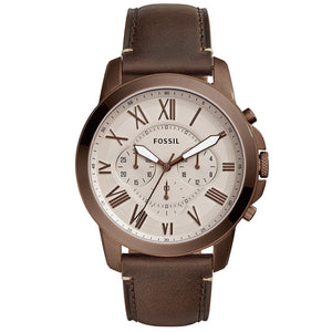 Fossil FS5344 Grant Brown Stainless Steel Chronograph Leather Band