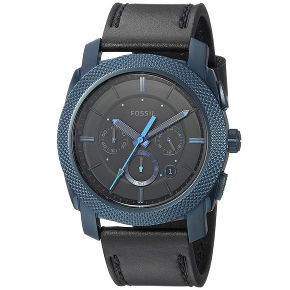 Fossil FS5361 Machine Navy Blue Black Leather Band Chronograph