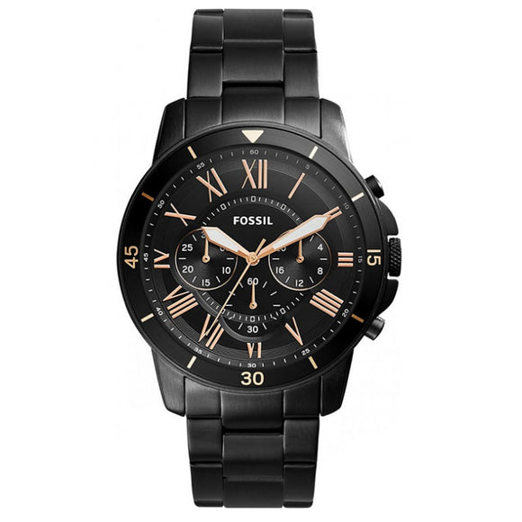 Fossil FS5374 Grant Black Stainless Steel Chronograph Rose Gold Accent