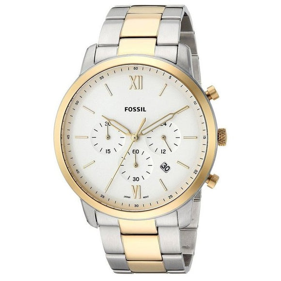 Fossil FS5385 Neutra Silver Gold Band White Dial Stainless Steel Chronograph