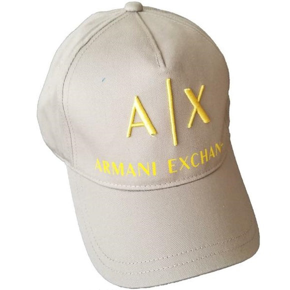 ARMANI EXCHANGE Gray A|X Yellow Logo Cotton Adjustable Hat