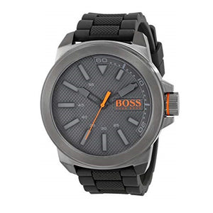 Hugo Boss 1513005 New York Smoke Gray Silicone Band Orange Accent