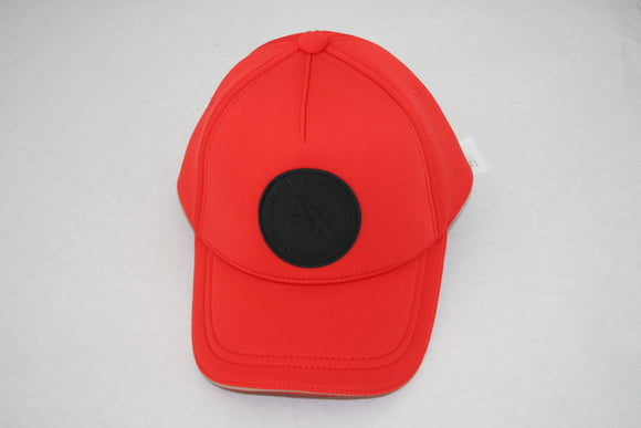 ARMANI EXCHANGE Red Cotton Adjustable Hat Black A|X Round Patch Logo
