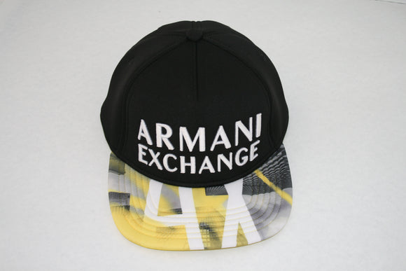 ARMANI EXCHANGE Black Logo Adjustable Cotton Hat Yellow AX Logo Visor