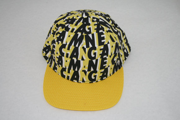 ARMANI EXCHANGE Yellow Black Cotton Adjustable Logo Print Hat AX Summer