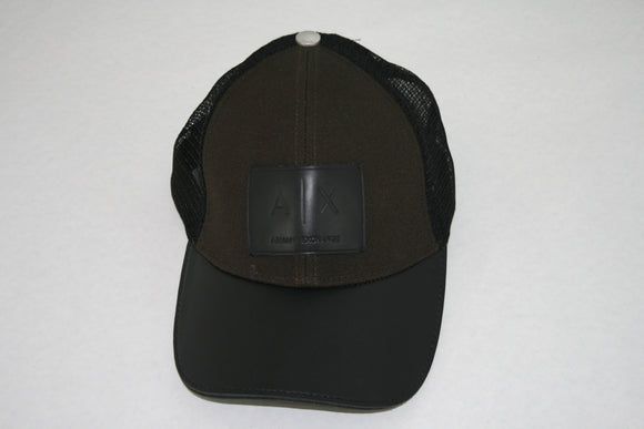 ARMANI EXCHANGE Dark Green Black Leather A|X Logo Patch Adjustable Hat