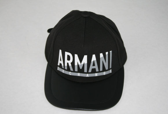ARMANI EXCHANGE Black Adjustable Gray Armani Exchange Logo Leather Visor