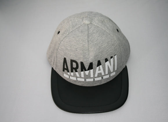 ARMANI EXCHANGE Gray Adjustable Armani Exchange Logo Black Leather Visor