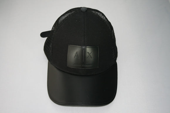 ARMANI EXCHANGE All Black Leather A|X Logo Patch Mesh Trucker Hat