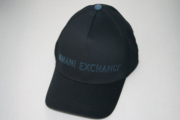 ARMANI EXCHANGE Navy Blue Armani Exchange Logo Cotton Adjustable Hat NEW
