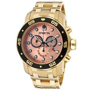 Invicta Prodiver 80063 Gold Rose Gold Dial Stainless Steel Chrono