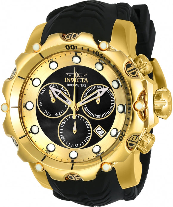 Invicta 20401 Venom Sea Dragon Swiss Chronograph Gold Black Silicone Quartz