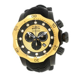 Invicta 20444 Venom Black Dial Silicone Band Black Bezel Chronograph