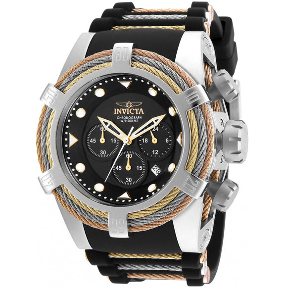 Invicta 23053 Bolt Zeus Tri Cable Automatic Silver Black Silicone Band Limited Edition