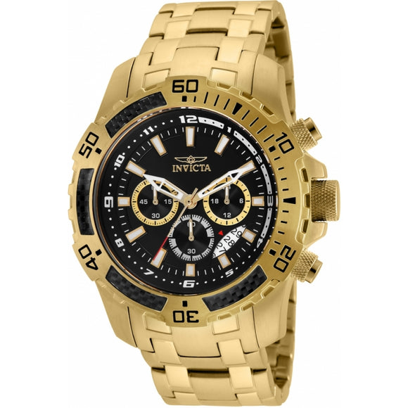 Invicta 24855 Pro Diver Gold Black Dial Chronograph Stainless Steel