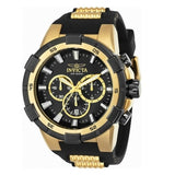 Invicta 25135 Aviator Gold Black Dial Silicone Band Chronograph