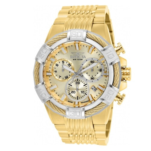 Invicta 25868 Bolt Gold Dial Stainless Steel Chronograph Silver Bezel