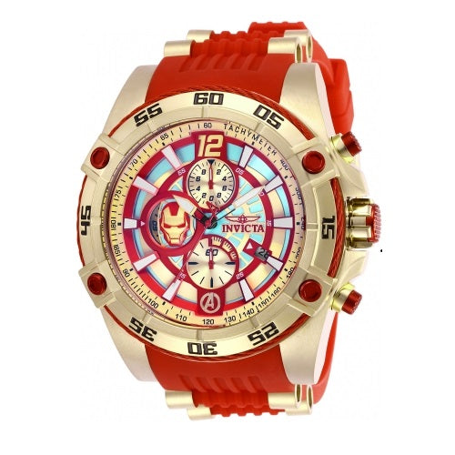 Invicta 26796 Marvel Ironman Gold Red Silicone Band Limited Edition
