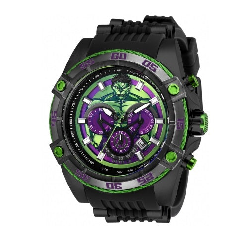 Invicta 26808 Marvel Incredible Hulk Black Silicone Band Limited Edition