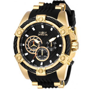 Invicta 26818 Bolt Gold Black Silicone Band Chronograph Black Dial