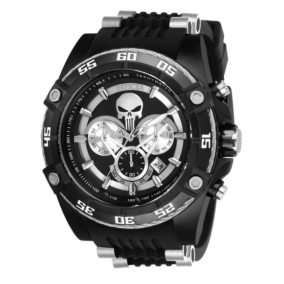 Invicta 26859 Marvel Punisher Black silicone Band Limited Edition Chronograph