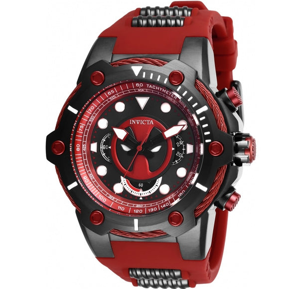 Invicta 27487 Marvel Deapool Bolt Black Red Silicone Limited Edition Watch