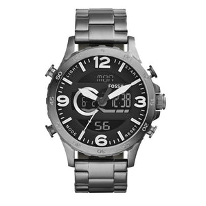 Fossil JR1491 Nate Smoke Analog Digital Stainless Steel Chronograph