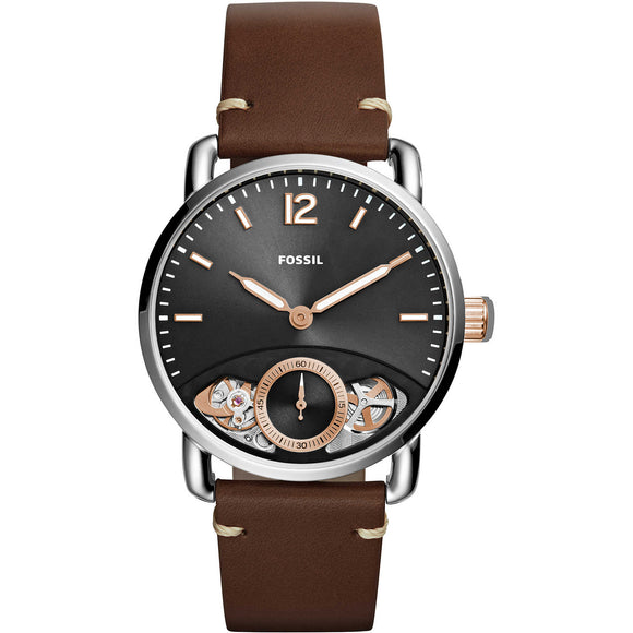 Fossil ME1165 The Commuter Twist Silver Brown Leather  Band Black Dial