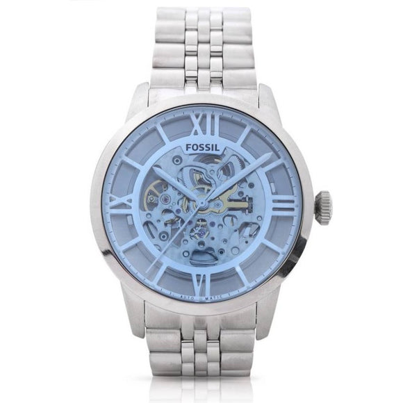 Fossil ME3073 Townsman Silver Stainless Steel Automatic Skeleton