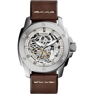 Fossil ME3083 Modern Machine Automatic Silver Brown Leather Band