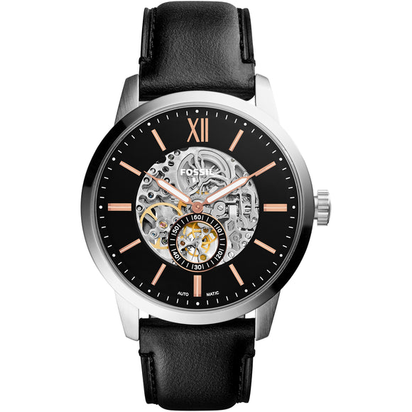 Fossil ME3153 Townsman Silver Black Leather Band Automatic Skeleton