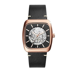 Fossil ME3156 Rutherford Rose Gold Automatic Black Leather Skeleton Square