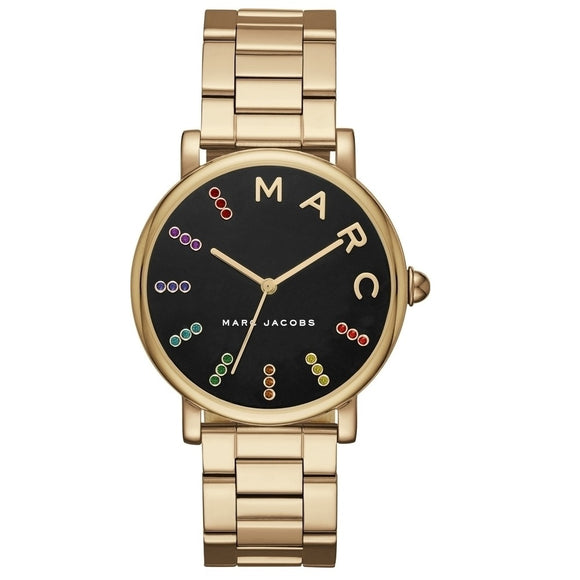 Marc Jacobs MJ3567 Classic Gold Logo Black Dial Color Crystal Accent