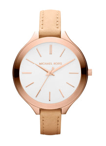 Michael Kors MK2284 Slim Runway Rose Gold Vachetta Tan Leather Band