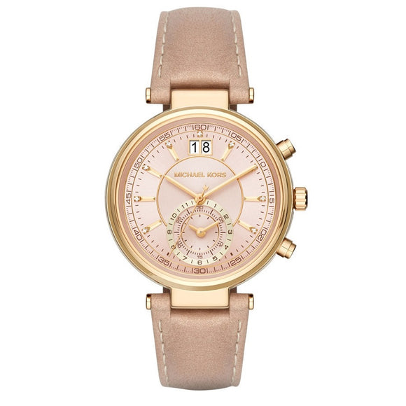 Michael Kors MK2529 Sawyer Gold Peanut Leather Band Pink Dial