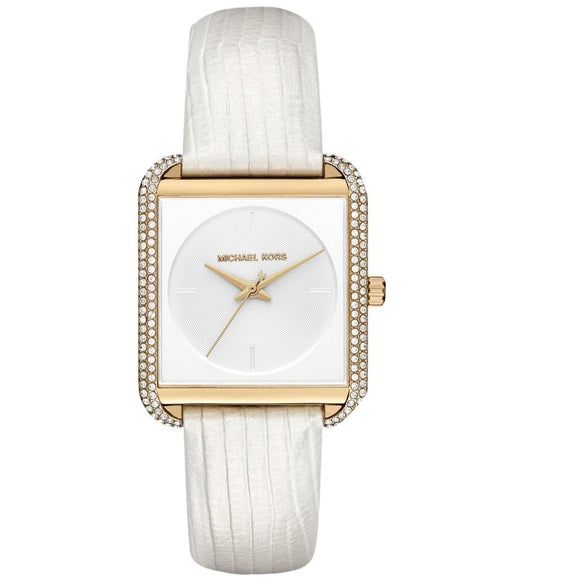 Michael Kors MK2600 Lake Gold Squared Glitz Bezel White Embossed Leather