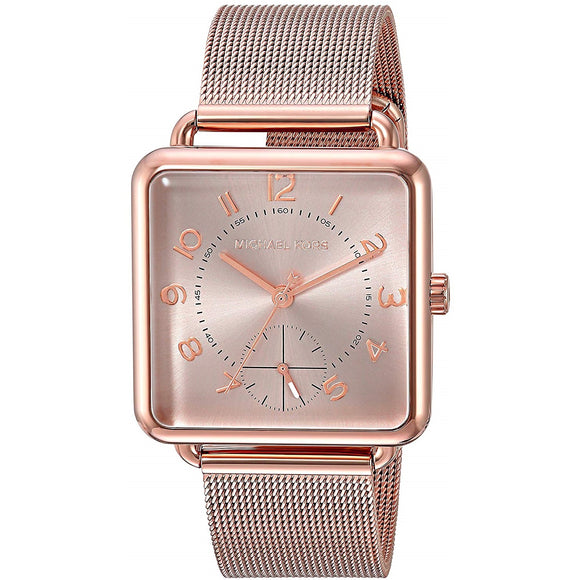 Michael Kors MK3664 Brenner Rose Gold Squared Stainless Steel Mesh Band