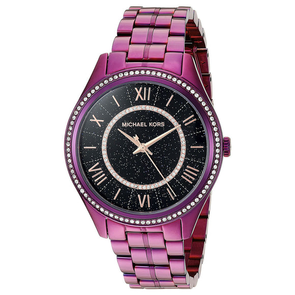 Michael Kors MK3724 Lauryn Purple Black Glitz Dial Stainless