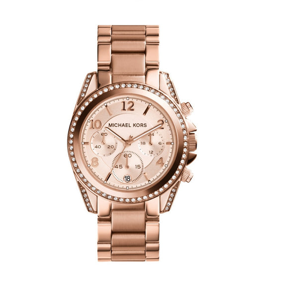 Michael Kors MK5263 Blair Rose Gold Glitz Bezel Chronograph