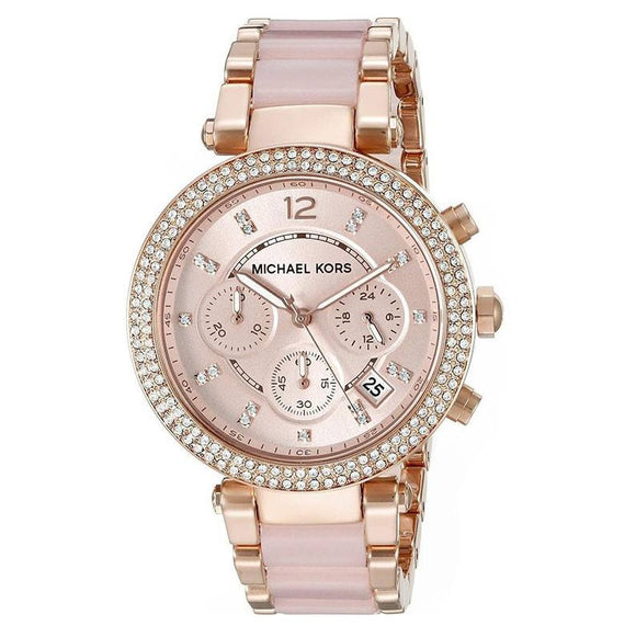 Michael Kors MK5896 Parker Rose Gold Acetate Band Glitz Bezel