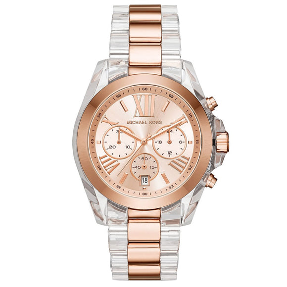 Michael Kors MK6358 Bradshaw Rose Gold Dial Clear Acetate Chronograph