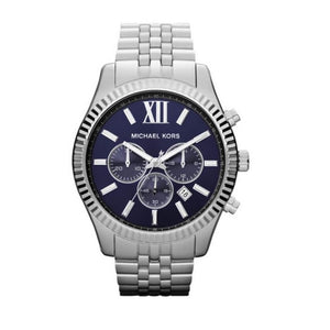 Michael Kors MK8280 Lexington Silver Navy Blue Dial Chronograph