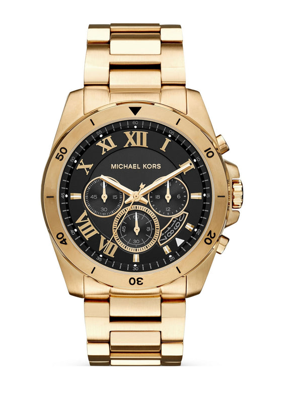 Michael Kors MK8481 Brecken Gold Black Dial Chronograph Stainless Steel