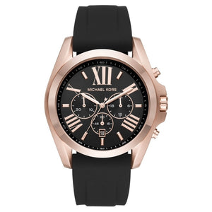 Michael Kors MK8559 Bradshaw Rose Gold Black Silicone Band