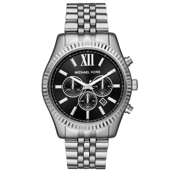 Michael Kors MK8602 Lexington Silver Black Dial Chronograph Stainless