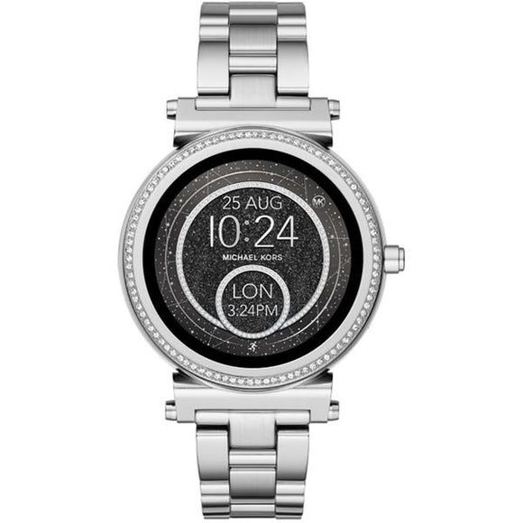 Michael Kors MKT5020 Access Sofie Pave Silver Black Dial Smartwatch 42MM