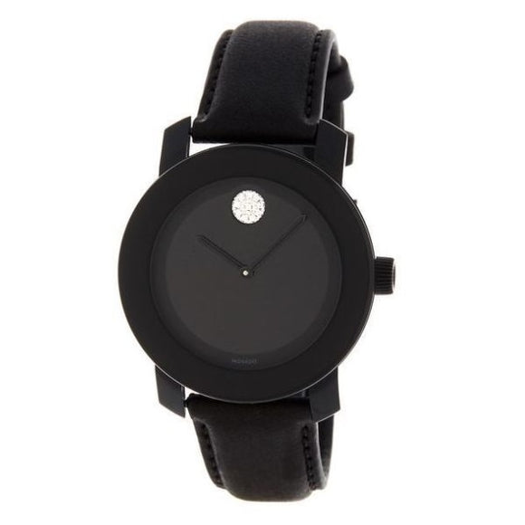 Movado 3600483 Bold Black Dial Leather Strap Stainless Steel Swiss