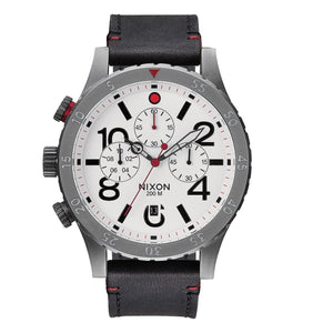 NIXON 48-20 Gunmetal White DIal Black Leather Chronograph