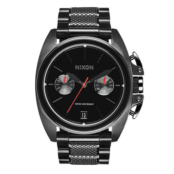 NIXON Anthem Chrono All Black Red Accents Swiss Ceramic