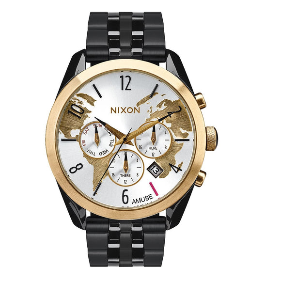 NIXON Bullet Chrono Light Gold Black Band World Dial